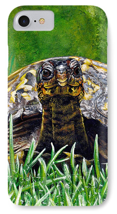Turtle IPhone 7 Case featuring the painting Smile by Cara Bevan