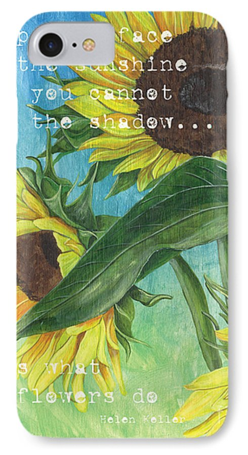 Flowers IPhone 7 Case featuring the painting Vince's Sunflowers 1 by Debbie DeWitt