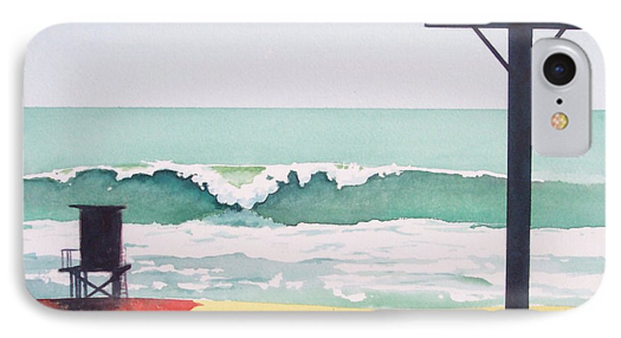 Surf IPhone 7 Case featuring the painting 14th Street Huntington Beach by Philip Fleischer