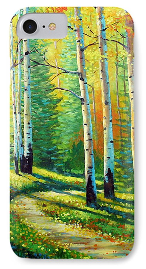 Landscape IPhone 7 Case featuring the painting Colors Of The Season by David G Paul