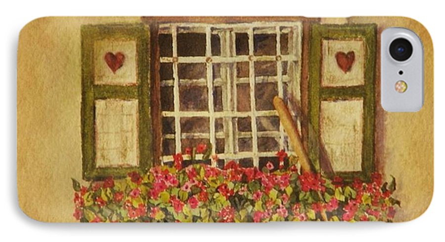 Rural IPhone 7 Case featuring the painting Farm Window by Mary Ellen Mueller Legault