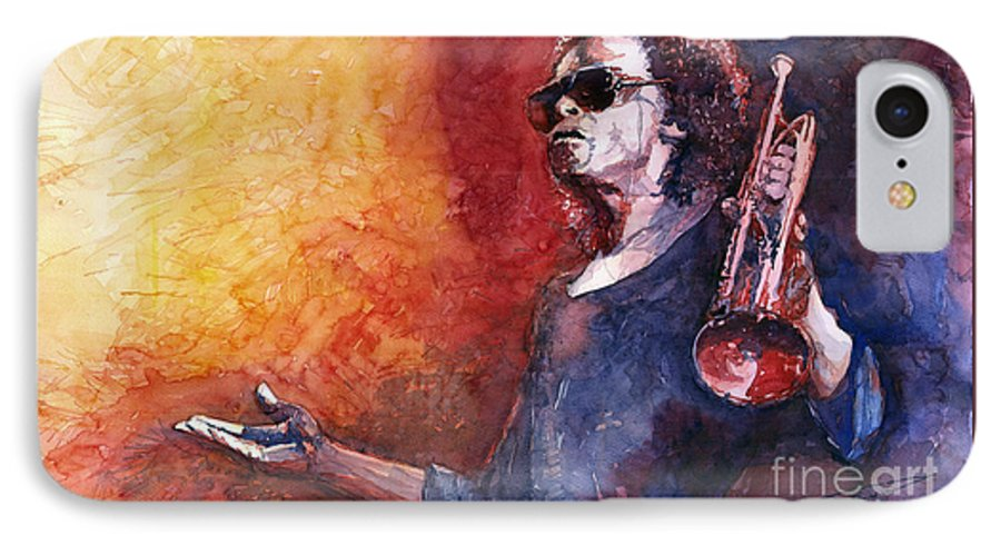 Watercolor IPhone 7 Case featuring the painting Jazz Miles Davis by Yuriy Shevchuk