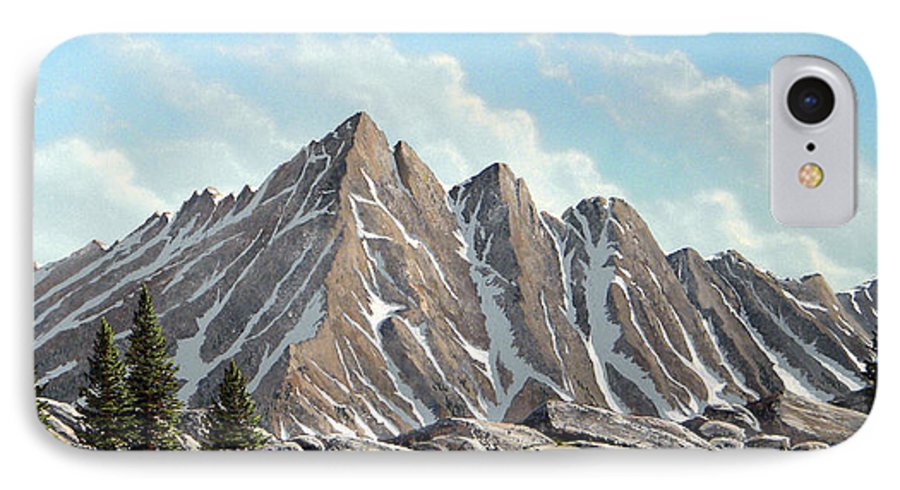 Landscape IPhone 7 Case featuring the painting Lofty Peaks by Frank Wilson