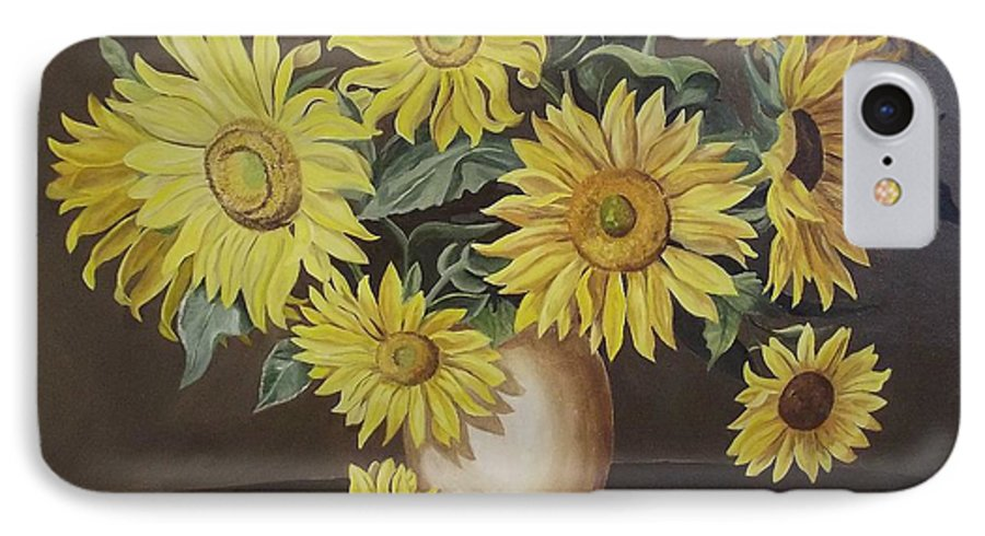Flowers IPhone 7 Case featuring the painting Sunshine And Sunflowers by Wanda Dansereau