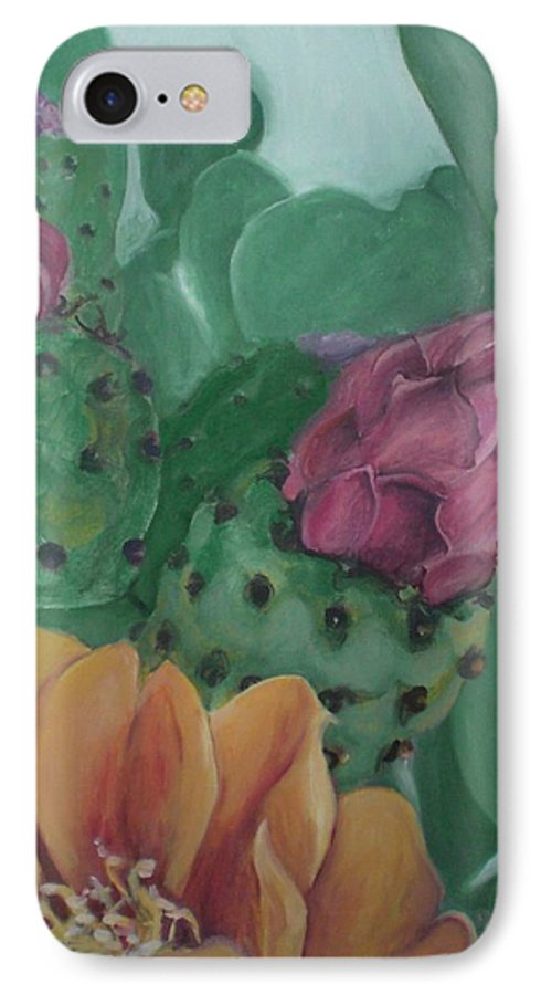 Yellow IPhone 7 Case featuring the painting Yellow Cactus Blossom by Aleksandra Buha