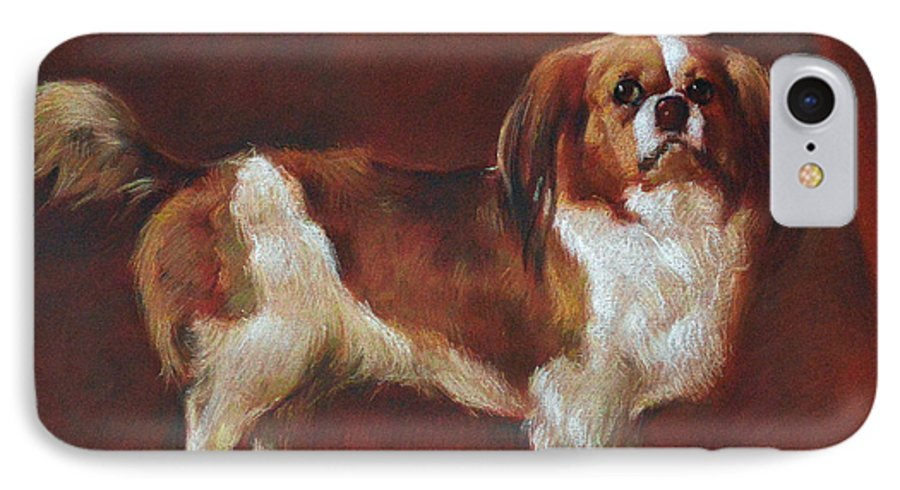 Pastel IPhone 7 Case featuring the pastel A King Charles Spaniel by Iliyan Bozhanov