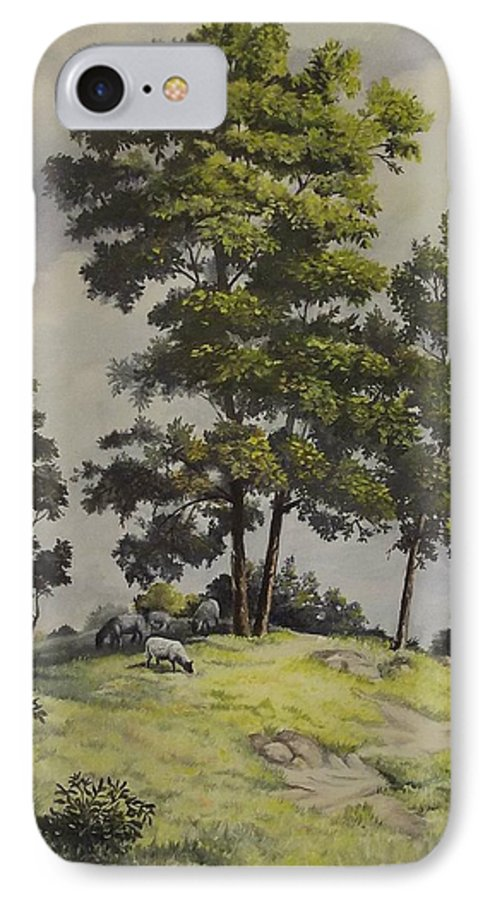 Landscape IPhone 7 Case featuring the painting A Lazy Day For Grazing by Wanda Dansereau