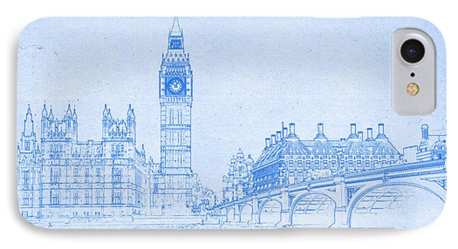 Big ben in london blueprint drawing iphone 7 case for sale by big ben in london blueprint drawing iphone 7 case featuring the digital art big ben malvernweather Choice Image