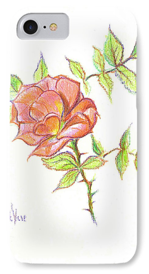 A Rose In Brigadoon IPhone 7 Case featuring the drawing A Rose In Brigadoon by Kip DeVore