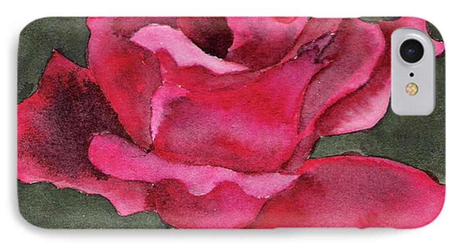 Rose Flower Red Painting Watercolor Still Life IPhone 7 Case featuring the painting A Rose Is A Rose by Marsha Woods