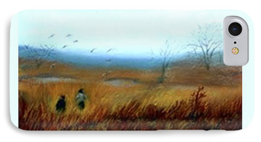 Figures IPhone 7 Case featuring the painting A Winter Walk by Gail Kirtz