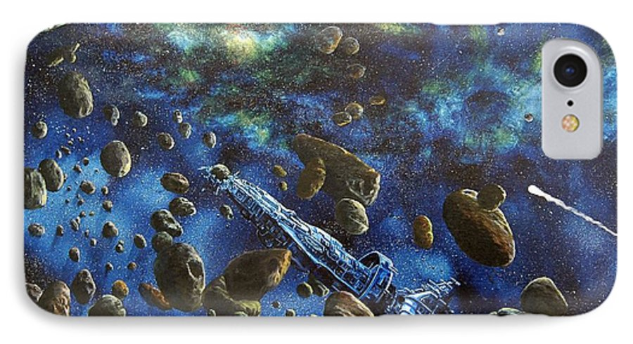 Canvas IPhone 7 Case featuring the painting Accidental Asteroid by Murphy Elliott