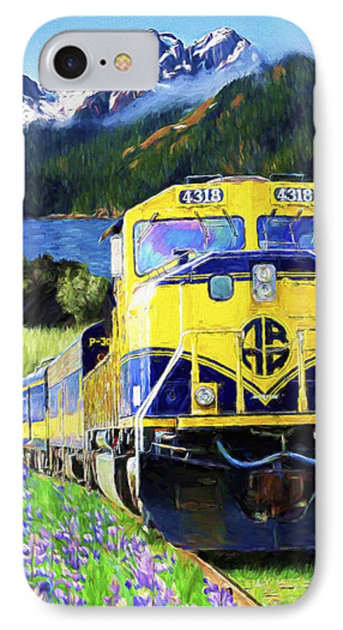Railroad IPhone 7 Case featuring the painting Alaska Railroad by David Wagner