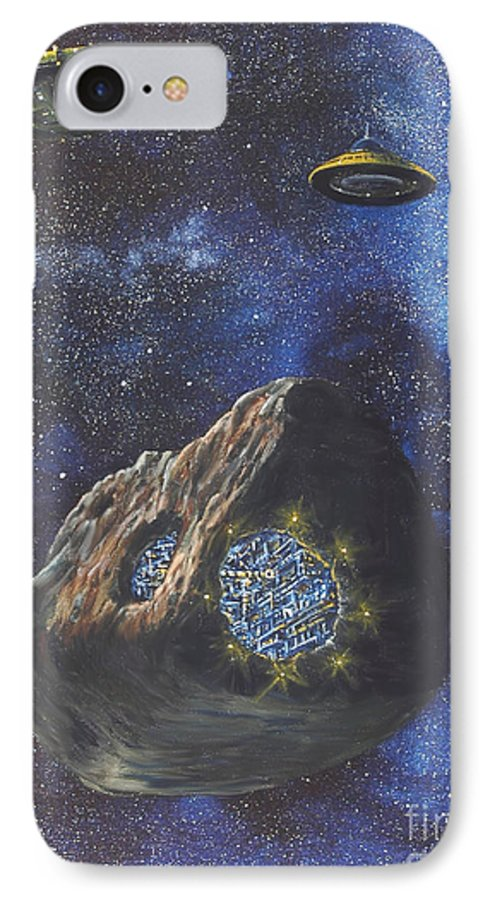 Painting IPhone 7 Case featuring the painting Alien Space Factory by Murphy Elliott