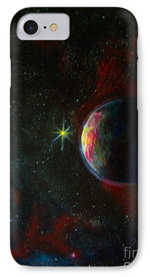 Cosmos IPhone 7 Case featuring the painting Alien Worlds by Murphy Elliott