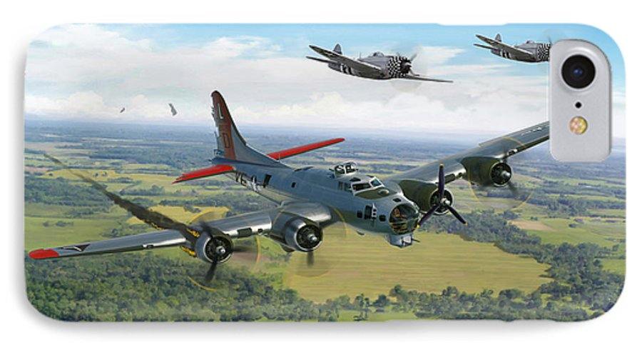 Airplane IPhone 7 Case featuring the painting Almost Home B-17 Flying Fortress by Mark Karvon