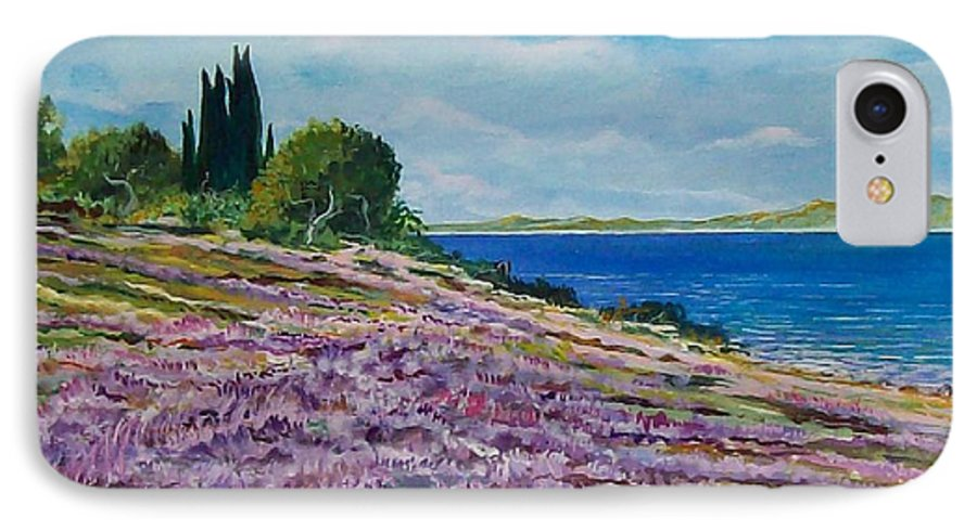 Landscape IPhone 7 Case featuring the painting Along The Shore by Sinisa Saratlic