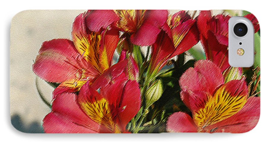 Alstroemeria IPhone 7 Case featuring the photograph Alstroemeria In Pastel by Suzanne Gaff