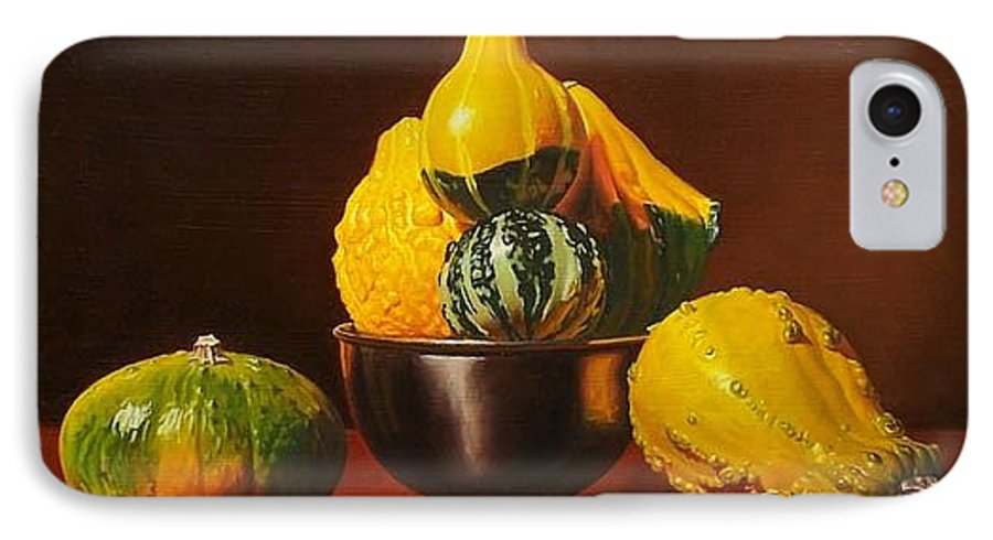 Still Life IPhone 7 Case featuring the painting An Arrangement Of Gourds by Gary Hernandez