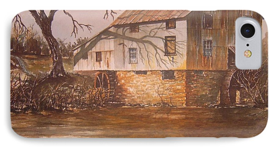 Landscape IPhone 7 Case featuring the painting Anderson Mill by Ben Kiger