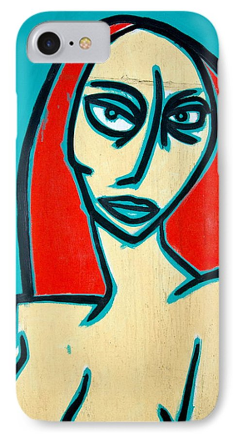 Oil IPhone 7 Case featuring the painting Angry Jen by Thomas Valentine