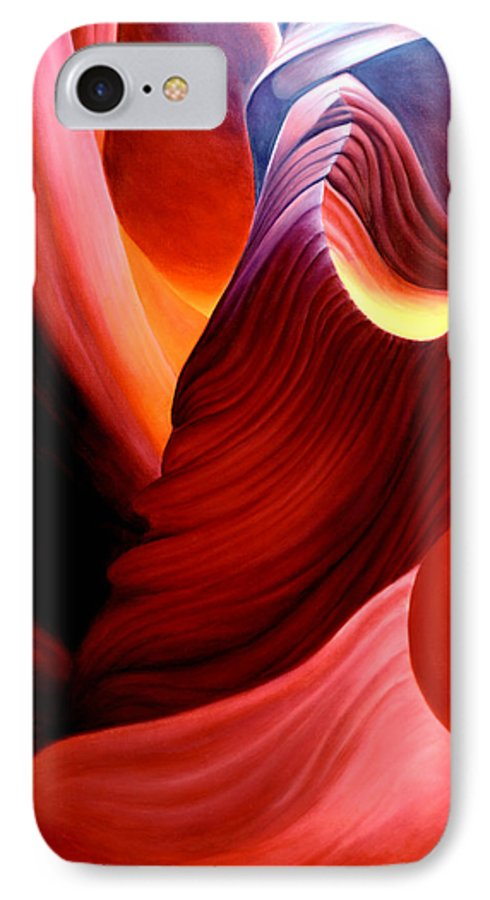 Antelope Canyon IPhone 7 Case featuring the painting Antelope Magic by Anni Adkins