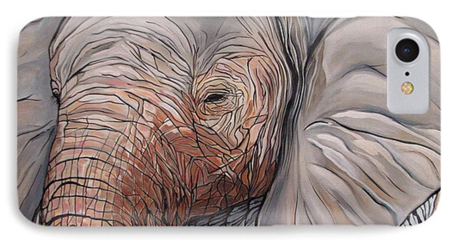 Elephant Bull Painting IPhone 7 Case featuring the painting Are You There by Aimee Vance