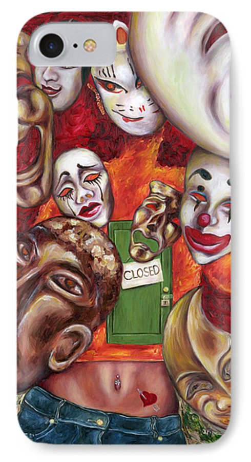 Mask IPhone 7 Case featuring the painting Artist by Hiroko Sakai