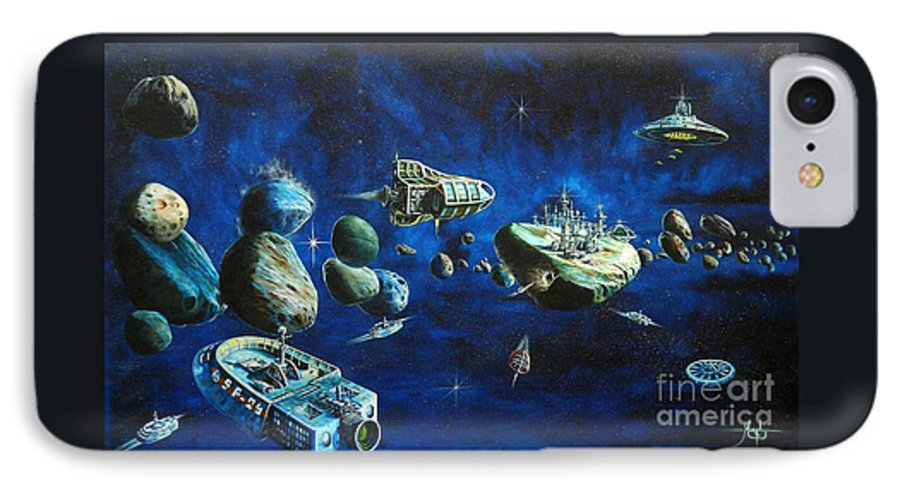 Fantasy IPhone 7 Case featuring the painting Asteroid City by Murphy Elliott