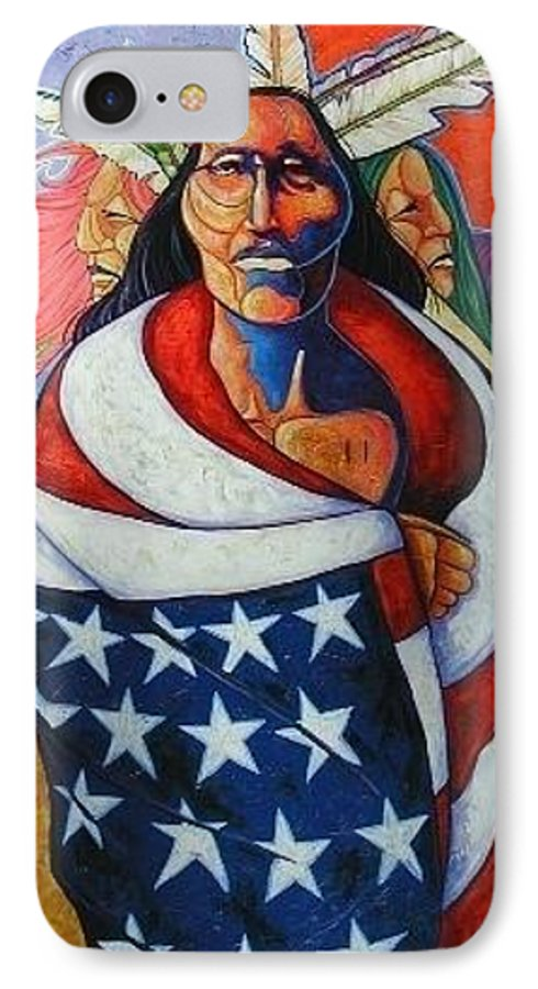 American Indian IPhone 7 Case featuring the painting At The Crossroads by Joe Triano