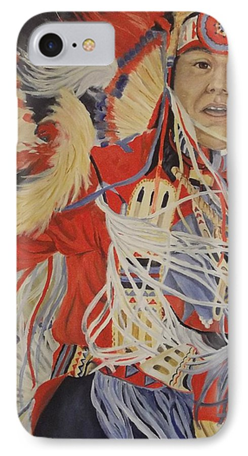 Indian IPhone 7 Case featuring the painting At The Powwow by Wanda Dansereau