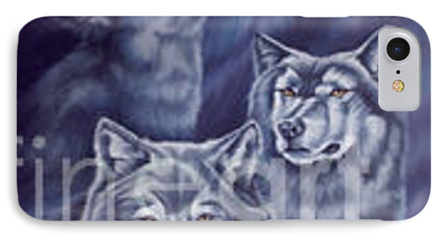 Wolf IPhone 7 Case featuring the painting Aurora Wolves by Wendy Froshay