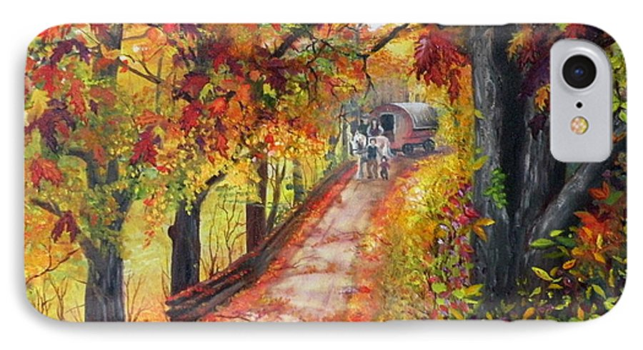 Scenery IPhone 7 Case featuring the painting Autumn Dreams by Lora Duguay