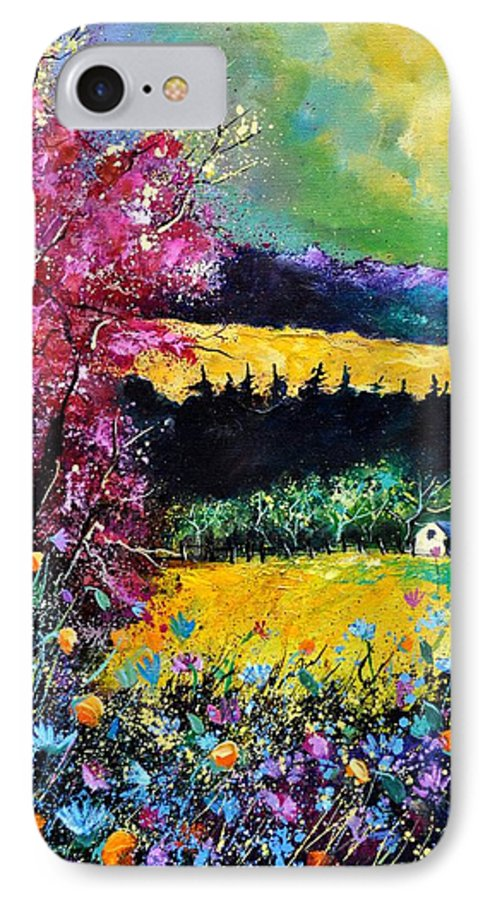 Landscape IPhone 7 Case featuring the painting Autumn Flowers by Pol Ledent