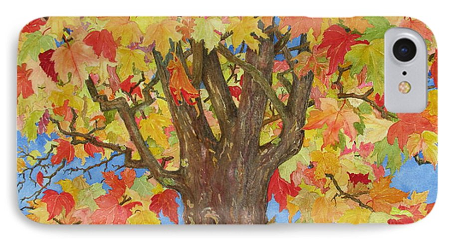Leaves IPhone 7 Case featuring the painting Autumn Leaves 1 by Mary Ellen Mueller Legault