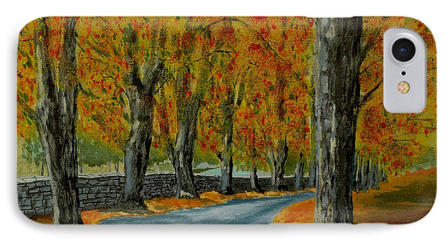 Autumn IPhone 7 Case featuring the painting Autumn Pathway by Anthony Dunphy
