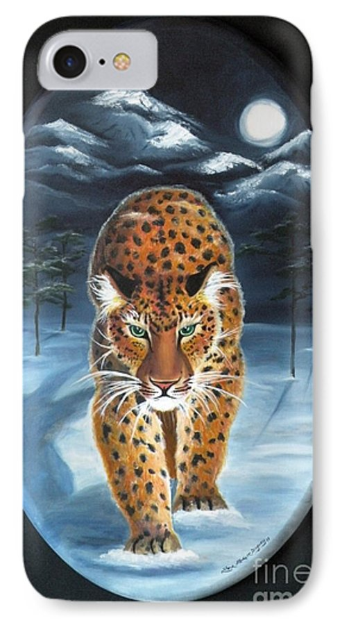 Snow Leopard IPhone 7 Case featuring the painting Batukhan Snow Leopard by Lora Duguay