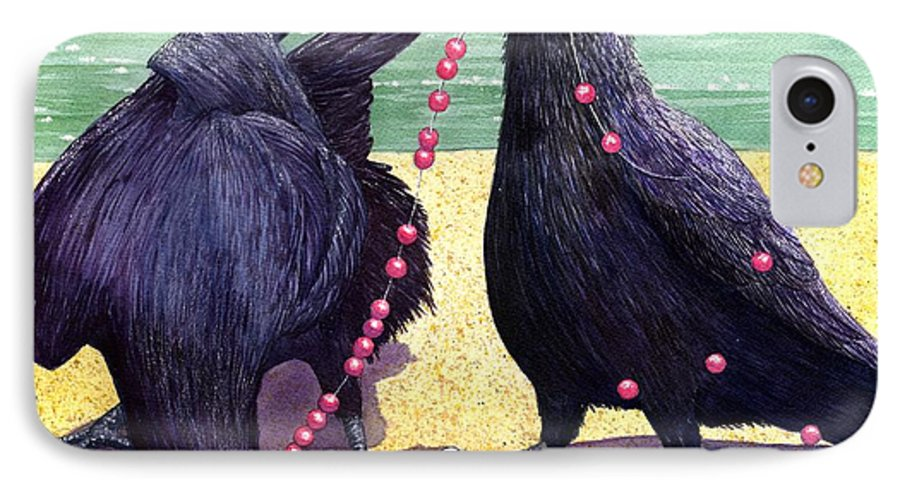Raven IPhone 7 Case featuring the painting Baubles by Catherine G McElroy