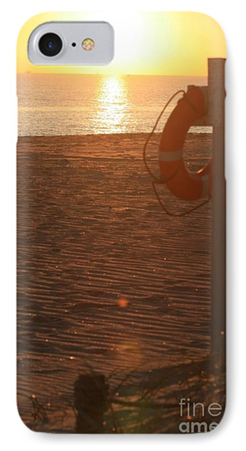 Beach IPhone 7 Case featuring the photograph Beach At Sunset by Nadine Rippelmeyer