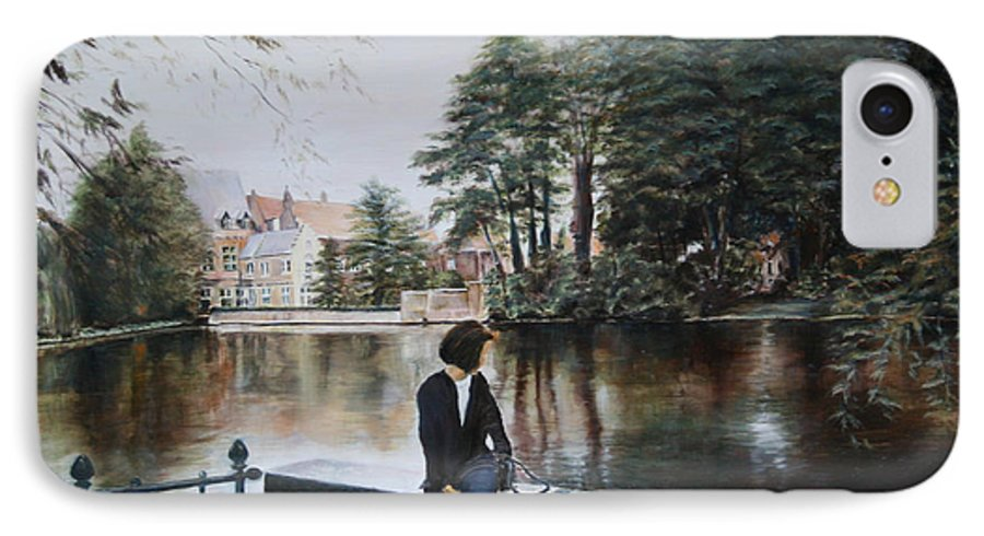 Water IPhone 7 Case featuring the painting Belgium Reflections In Water by Jennifer Lycke
