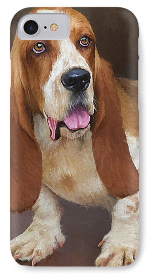 Bassett Hound IPhone 7 Case featuring the painting Bert by David Wagner