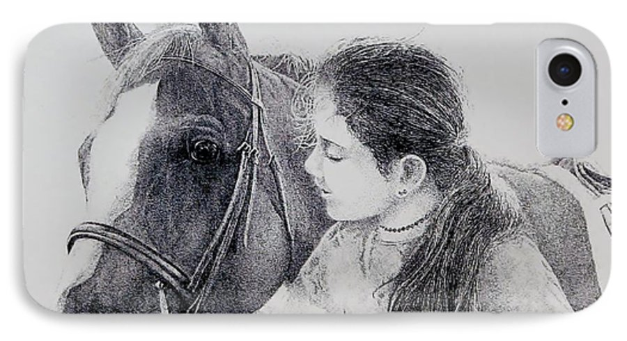 Pets Horses Horseback Riding Children IPhone 7 Case featuring the painting Best Friends by Tony Ruggiero