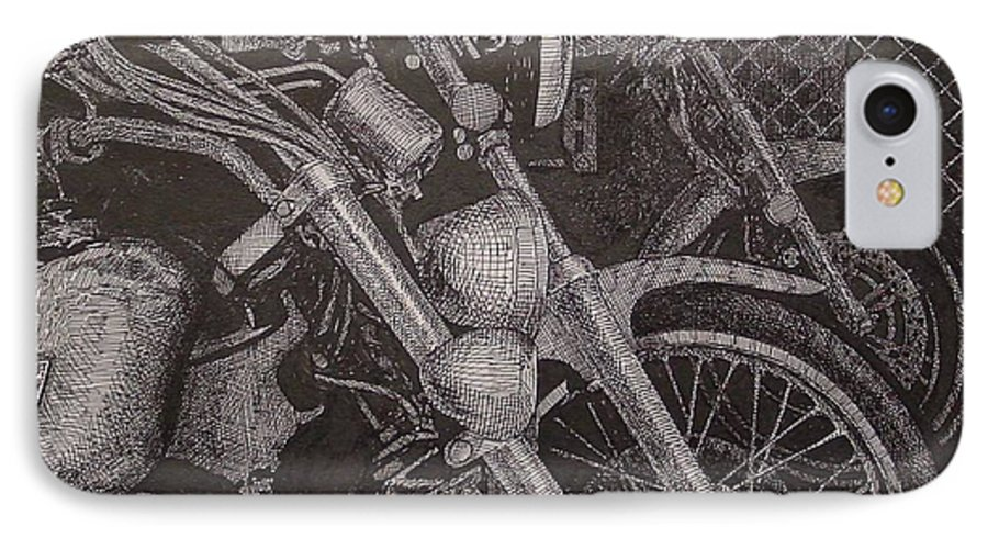 Motorcycles IPhone 7 Case featuring the drawing Bikes by Denis Gloudeman