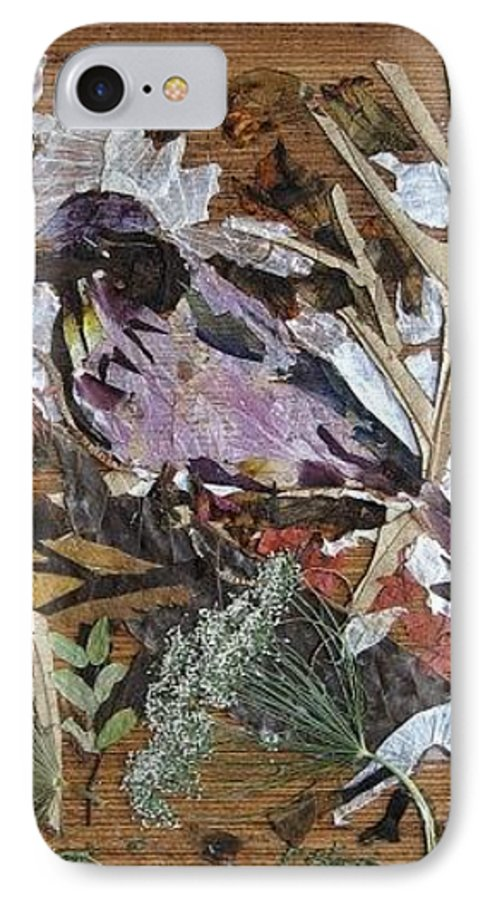 Bird Scrub Joy IPhone 7 Case featuring the mixed media Bird Scubjoy by Basant Soni