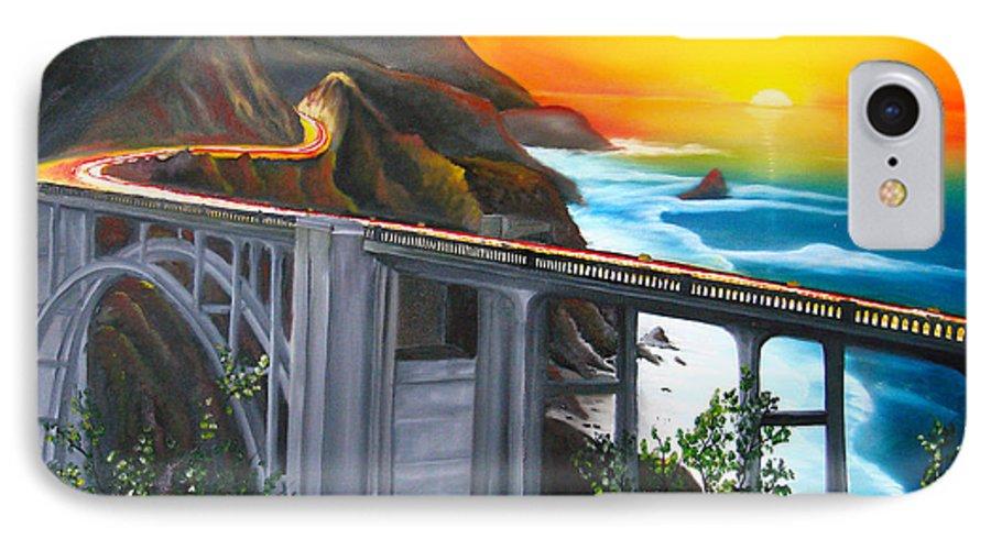 Beautiful California Sunset! IPhone 7 Case featuring the painting Bixby Coastal Bridge Of California At Sunset by Portland Art Creations