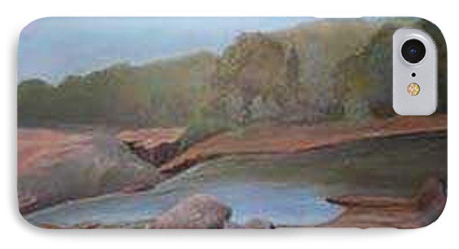 Rick Huotari IPhone 7 Case featuring the painting Black River Falls by Rick Huotari