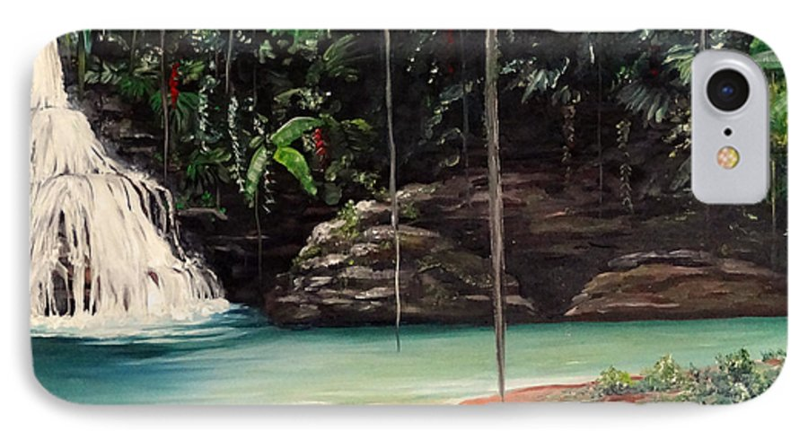 Tropical Waterfall IPhone 7 Case featuring the painting Blue Basin by Karin Dawn Kelshall- Best