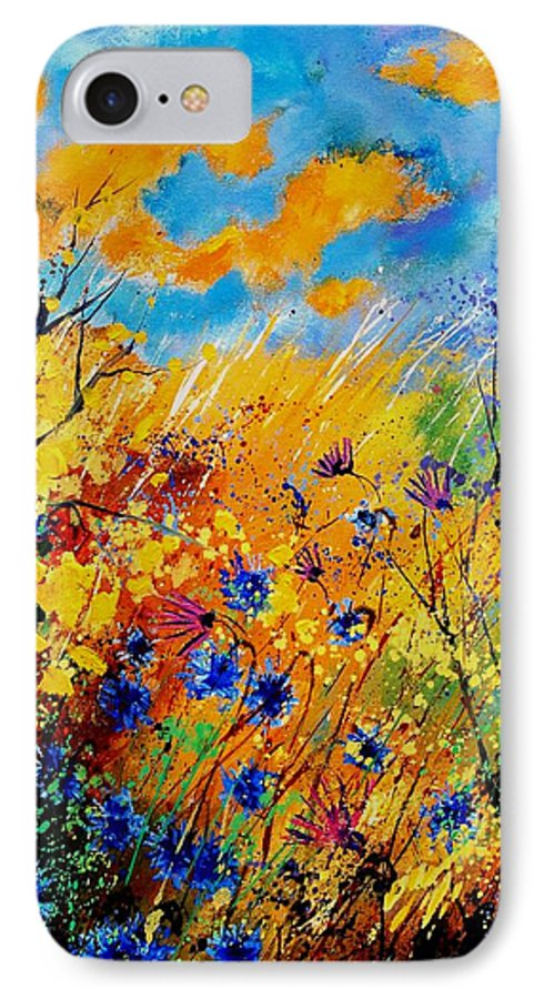 Poppies IPhone 7 Case featuring the painting Blue Cornflowers 450408 by Pol Ledent