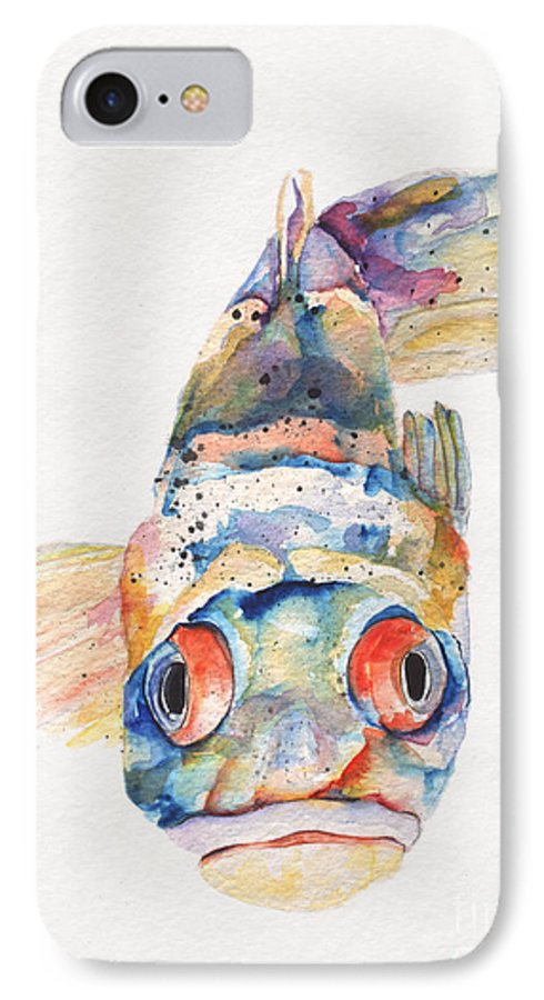 Pat Saunders-white IPhone 7 Case featuring the painting Blue Fish  by Pat Saunders-White