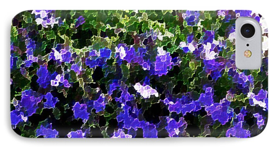 Blue.flowers.green Leaves.happiness.rest.pleasure.mosaic IPhone 7 Case featuring the digital art Blue Flowers On Sun by Dr Loifer Vladimir